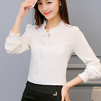 CALAN DIANA Women's Fashion Chiffon Short Long Sleeve Shirt Color Varies (White)