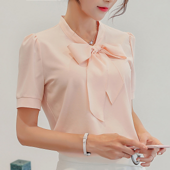 CALAN DIANA Women's Korean-style Chiffon Short Long Sleeve Shirt (Pink (short sleeved))
