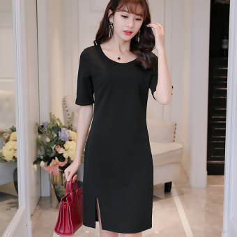 CALAN DIANA Women's Korean-style Fashionable Knitted Mid-length Sleeve Dress (Black)