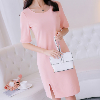 CALAN DIANA Women's Korean-style Fashionable Knitted Mid-length Sleeve Dress (Pink)