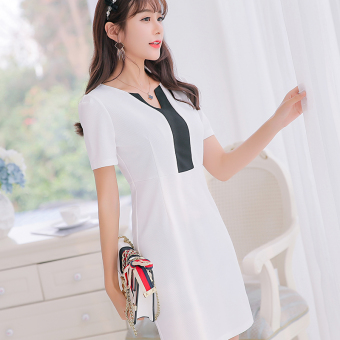 CALAN DIANA Women's Korean-style Knitted Short Sleeve Underskirt Dress (White)