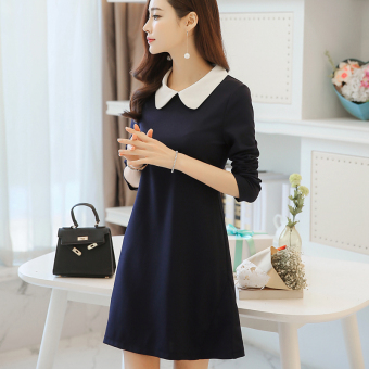 CALAN DIANA Women's Korean-style Lady Gored Peter Pan Collar Underskirt Dress