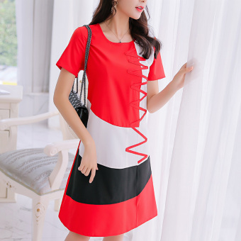 CALAN DIANA Women's Korean-style Large Size Short Sleeve Underskirt Dress (Red)