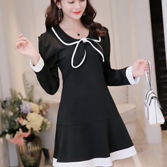 CALAN DIANA Women's Korean-style Large Size Solid Color Long Sleeve Underskirt Dress (Black)