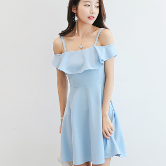 CALAN DIANA Women's Korean-style Leisure Solid Color Short Sleeve Underskirt Dress (Sky blue color)