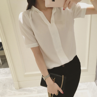 CALAN DIANA Women's Korean-style Slim Fit Chiffon Short Long Sleeve Shirt (Short sleeved white)