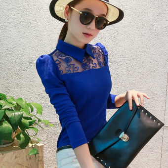 CALAN DIANA Women's Korean-style Slim Fit Lace Long Sleeve Top (Sapphire Blue)