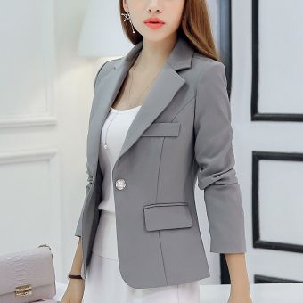 CALAN DIANA Women's Korean-style Slim Fit Long Sleeve Blazer (Gray RRR96)