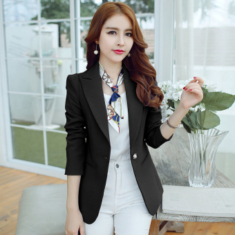 CALAN DIANA Women's Korean-style Slim Fit Short Sleeve Suit Blazer (Black R8048)