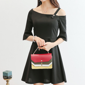 CALAN DIANA Women's Korean-style Solid Color Dress (Black)