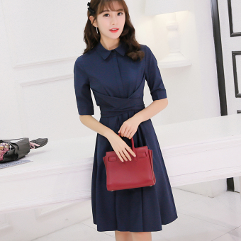 CALAN DIANA Women's Korean-style Solid Color Gored Mid-length Sleeve Dress
