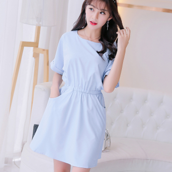 CALAN DIANA Women's Korean-style Solid Color Mid-length Sleeve Underskirt Dress (Sky blue color)