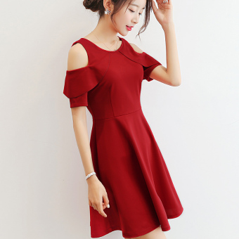 CALAN DIANA Women's Korean-style Solid Color Short Sleeve Dress (Wine red color)