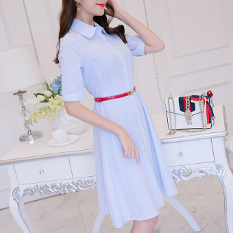 CALAN DIANA Women's Korean-style Stripe Short Sleeve Dress