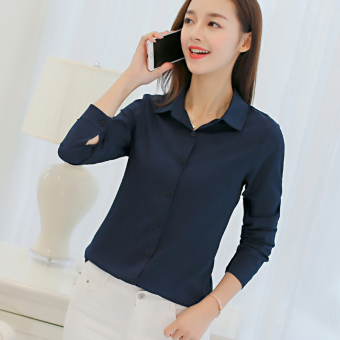 CALAN DIANA Women's Slim Fit Chiffon Long Sleeve Shirt Color Varies (Dark blue color)