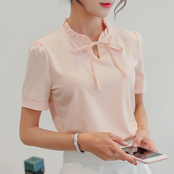 CALAN DIANA Women's Slim Fit Chiffon Short Sleeve Solid Color Shirt (Pink)