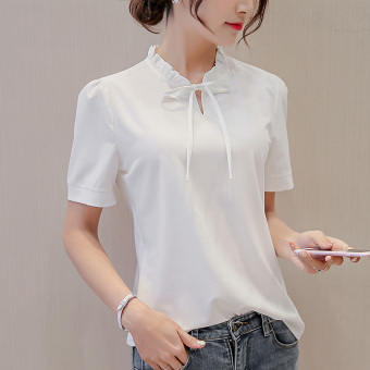 CALAN DIANA Women's Slim Fit Chiffon Short Sleeve Solid Color Shirt (White)