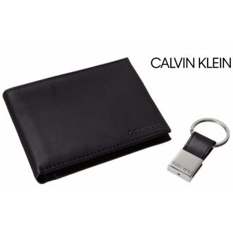 Calvin Klein Men?s Leather Bifold Wallet with Removable Card Case ,Key Fob gift box (Black)