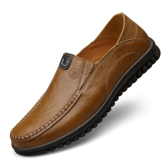 Camel casual leather Plus-sized men's shoes (Casual)