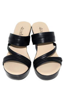 Camino Slides Wedge Sandals (Black) - picture 2