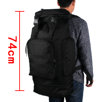 Camping military backpack large capacity bag (Black)