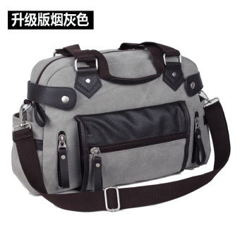 Campus bag casual travel bag canvas bag (Upgraded version of smoke gray)