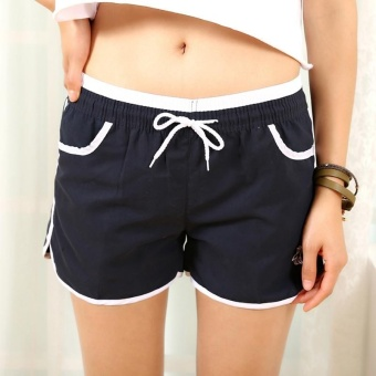 Candy color Women Sport Gym shorts Quick dry Casual loose Hot shorts Yoga running fintness shorts Naby blue - intl