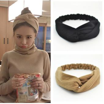 Candy Online 2PCS Korean Headband Elastic Turban Head Wrap KnottedHair Style (Black/Brown)