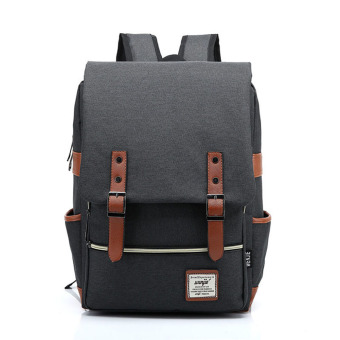 Canvas Backpacks Rucksack Bagpack School Bags For Unisex Teenagers(Black) - intl