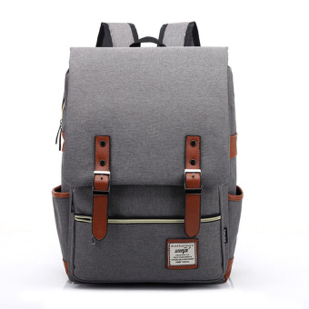 Canvas Backpacks Rucksack Bagpack School Bags For Unisex Teenagers(Light Grey) - intl