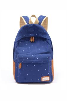 Canvas Dot Backpack (Dark Blue)