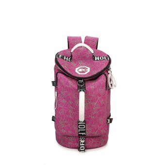 Canvas female large capacity casual bag backpack (Chaos line rose)