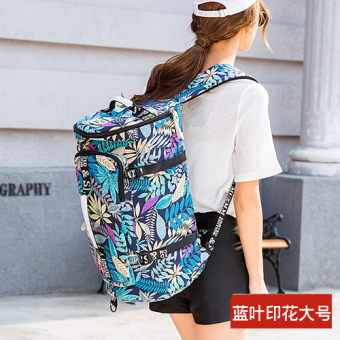 Canvas large capacity shoulder travel backpack (Blue leaf printed large)