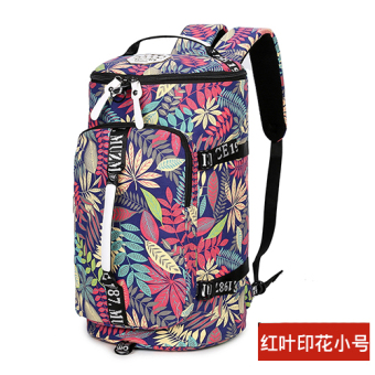 Canvas large capacity shoulder travel backpack (REDLEAF printed small)
