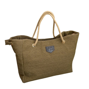 Canvas Shoulder Bag Tote Bag Lady Diagonal Package For Women Girls(Khaki) - intl