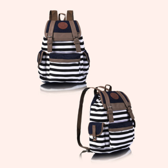 Canvas Stripe Backpack (Black) - picture 2