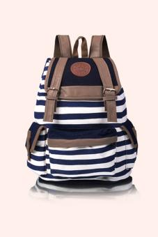 Canvas Stripe Backpack (Blue)