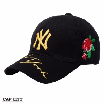 Cap City Baseball Caps with NY New York Embroidery Design (Black)