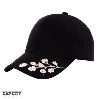 Cap City Baseball Caps with Plum Blossom Embroidery Flower Design (Black)