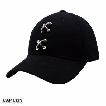 Cap City Fashion Plain Chained Cross Baseball Cap (Black)