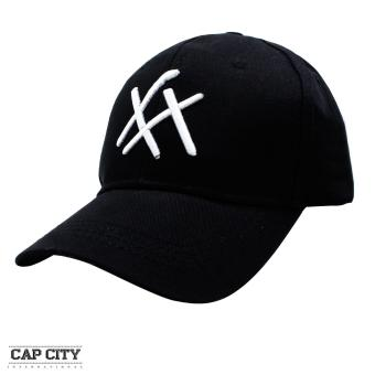 Cap City Fashion Plain Criss Cross Baseball Cap (Black)