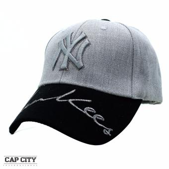 Cap City Hip Hop NY New York Yankees Glitter Text Snapback(Grey/Black)