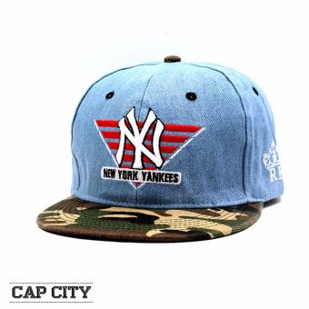 Cap City Hip-hop Snapback NY New York Yankees Baseball Cap Denim -Camouflage (Light Blue)