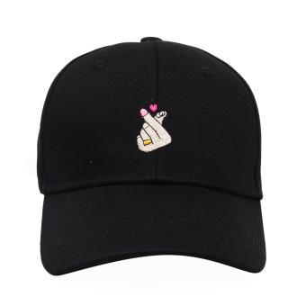 Cap City Korean Style Heart Finger Gesture Embroidery Baseball Cap (Black) - 2