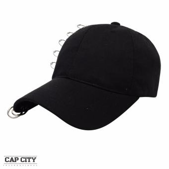 Cap City Korean Style with 5 Pins and 2 Ring Pierce Design Baseball Cap (Black)