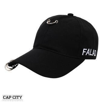 Cap City Korean Style with Hoop and 3 Ring Pierce Design Baseball Cap (Black)