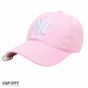 Cap City Korean Style with NY embroidery and 2 Ring Pirce Design Baseball Cap (Pink)