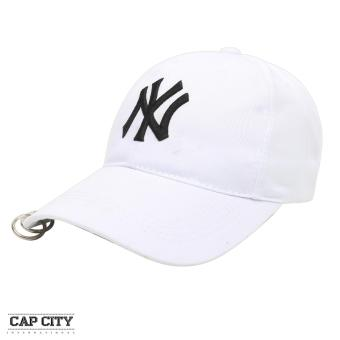 Cap City Korean Style with NY embroidery and 2 Ring Pirce Design Baseball Cap (White)