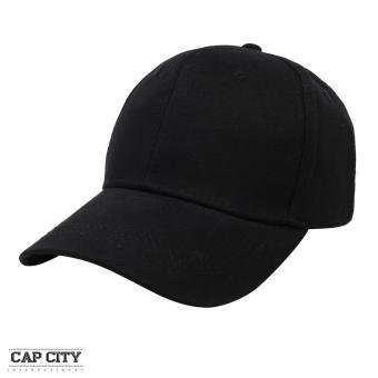 Cap City Plain Adjustable Street Casual Baseball Cap (Black)