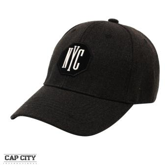 Cap City Plain Letter NYC Octagon Patch Baseball Cap (Black)